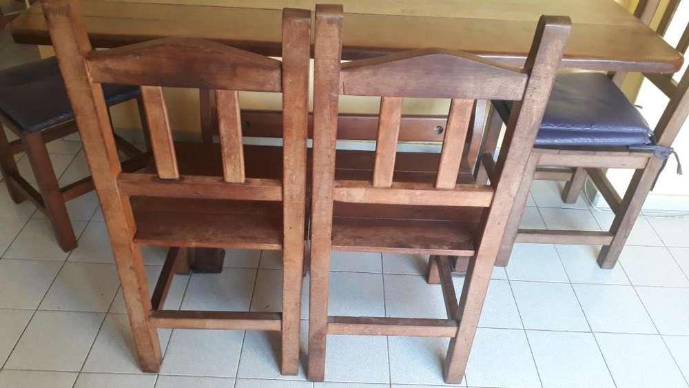 Juego de mesa y 4 <strong>silla</strong>s algarrobo