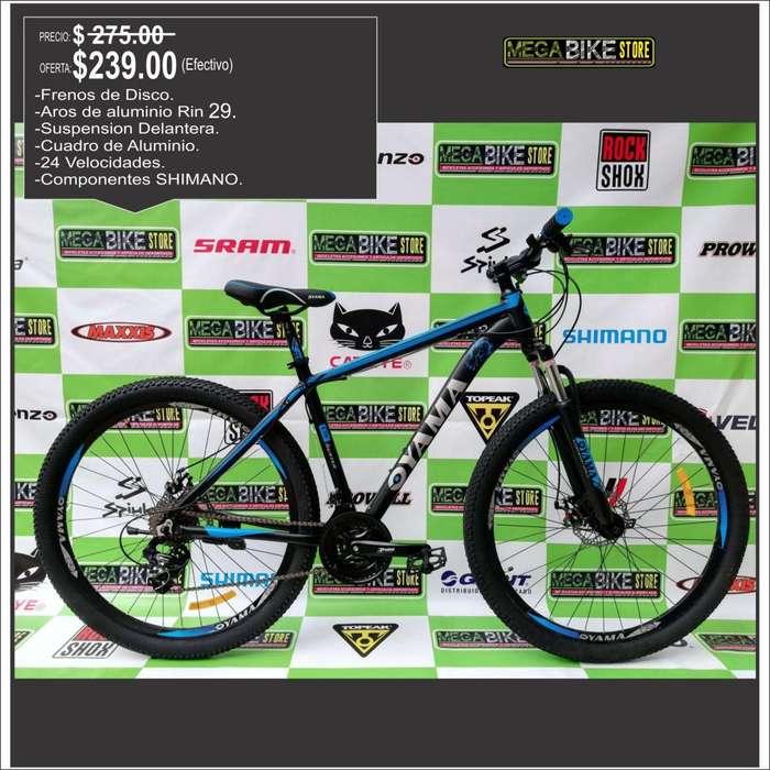 Bicicleta Rin 29 aluminio montañera con frenos de disco, 24 velocidades , suspension, para montaña o ciudad aro 26