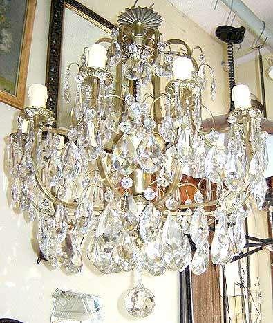 Muy importante araña 12 luces caireles cristal de roca restaurada a nuevo