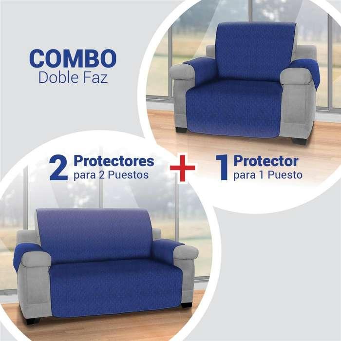 Combo Azul: Protector sofá 1 Puesto 2 Cubre sofá 2 puestos