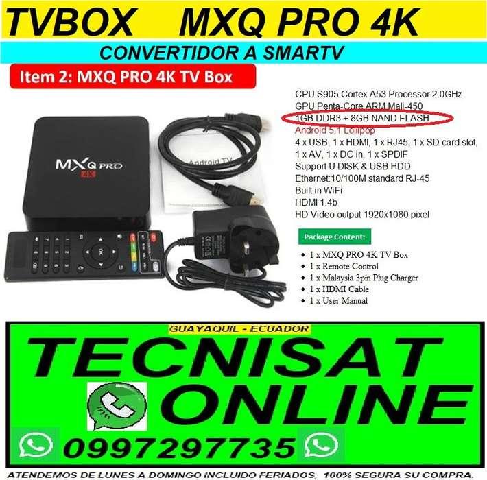 TVBOX MXQ PRO 4K 1GB RAM, 8GB ROM, COVERTIDOR TV BOX SMARTV PARA VER NETFLIX, SERIES, PELICULAS, YOUTUBE, CANALES ONLINE