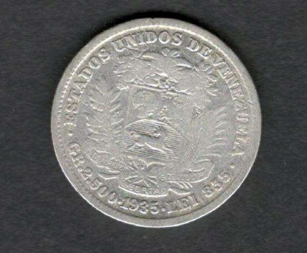 Venezuela 1/2 Bolivar 1935 Venezuela Silver Gram 2.5 F