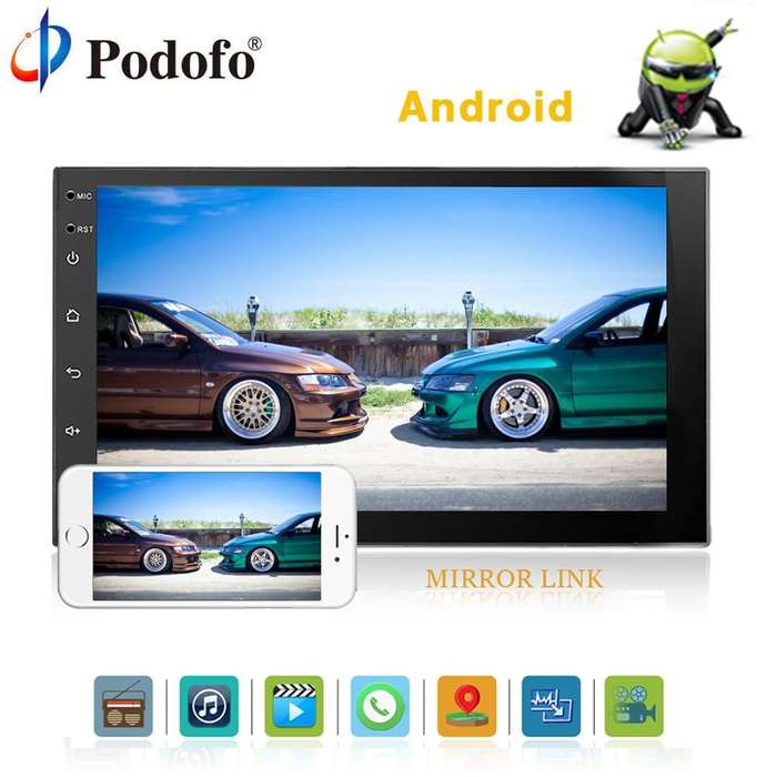 Radio para carro Android con pantalla 7 MP5 USB Bluetooth GPS YouTube