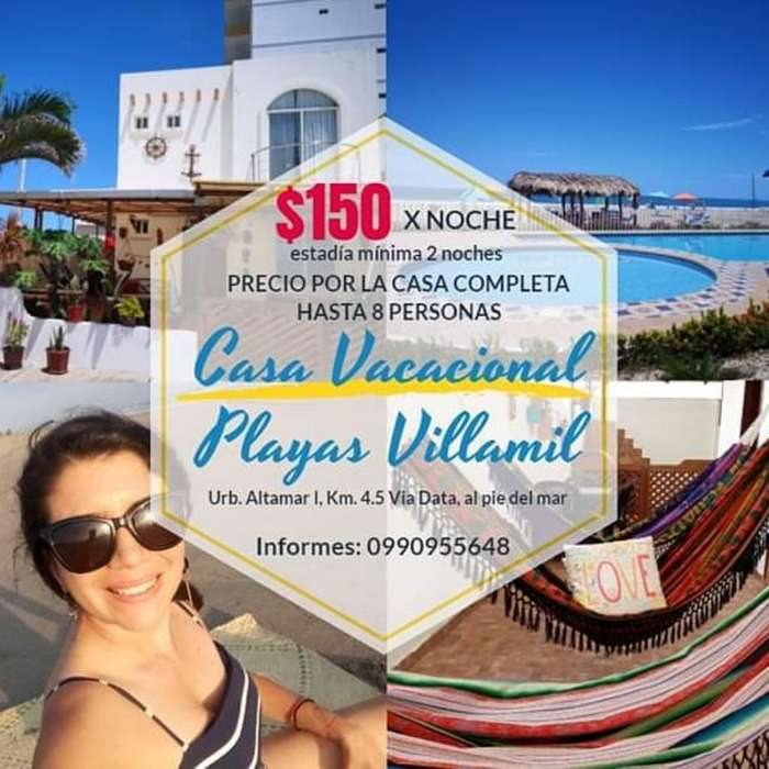 Casa Vacacional en Playas Villamil
