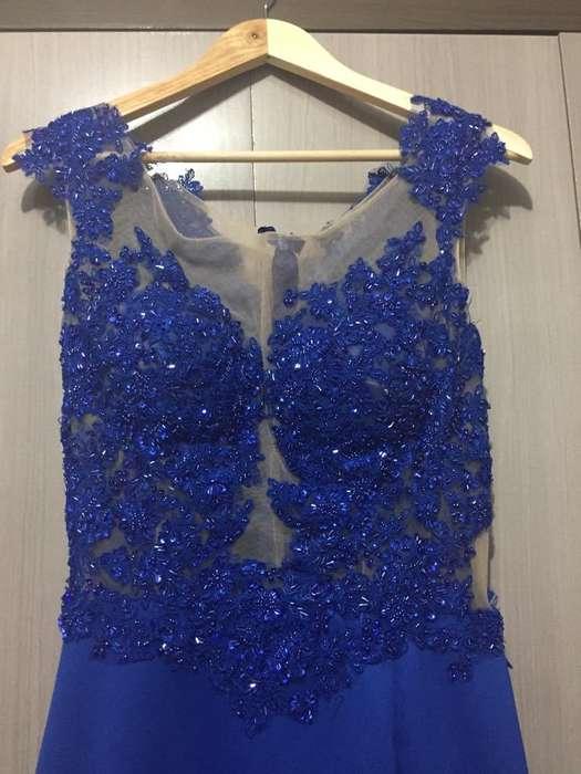 Vestido Elegante Azul Eléctrico Talla M