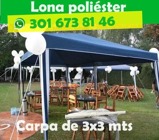 Carpa Toldo Parasol 3x3 Poliéster Azul y Verde