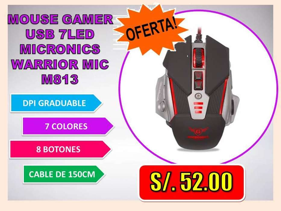 <strong>mouse</strong> GAMER USB 7LED MICRONICS WARRIOR MIC M813