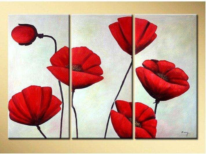 Tríptico de flores rojas 3270