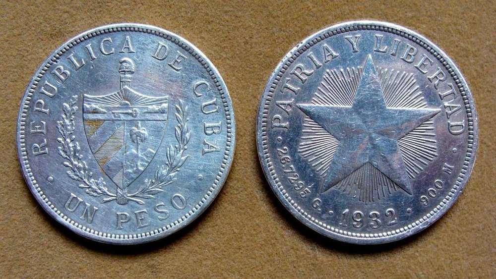 Moneda de 1 peso de plata Cuba 1932