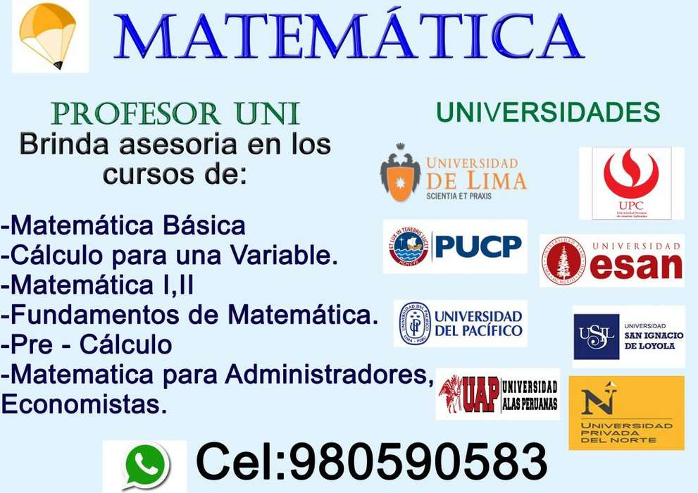 PROFESOR DE MATEMÁTICA, BRINDA CLASES DE CALCULO , MATEMÁTICA BÁSICA, NIVELACIÓN DE MATEMÁTICA , TODO NIVEL.