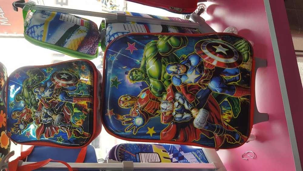 Morral Escolar Avengers 3d 2 Ruedas Lonchera Y Cartuchera