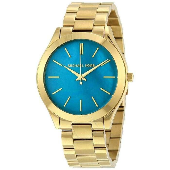 Reloj Mujer Michael Kors Slim Runway Dorado Azul MK3492