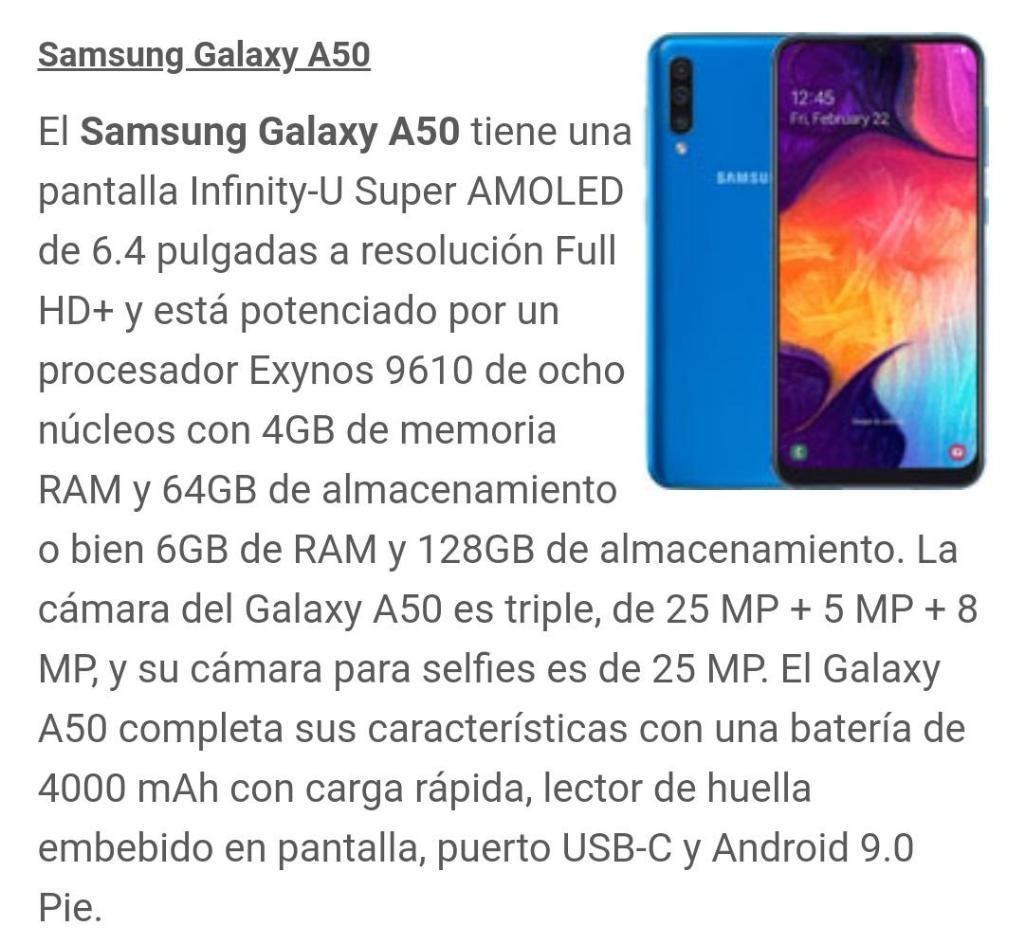 Vendo Celular Samsung Galaxy A50