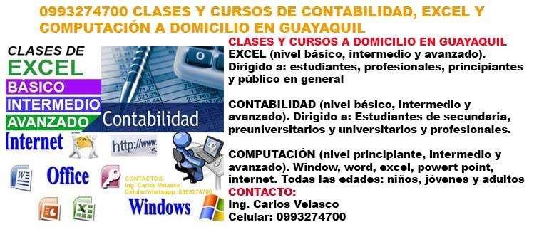 CLASES Y CURSOS DE CONTABILIDAD, EXCEL Y COMPUTACIÓN A DOMICILIO EN GUAYAQUIL.