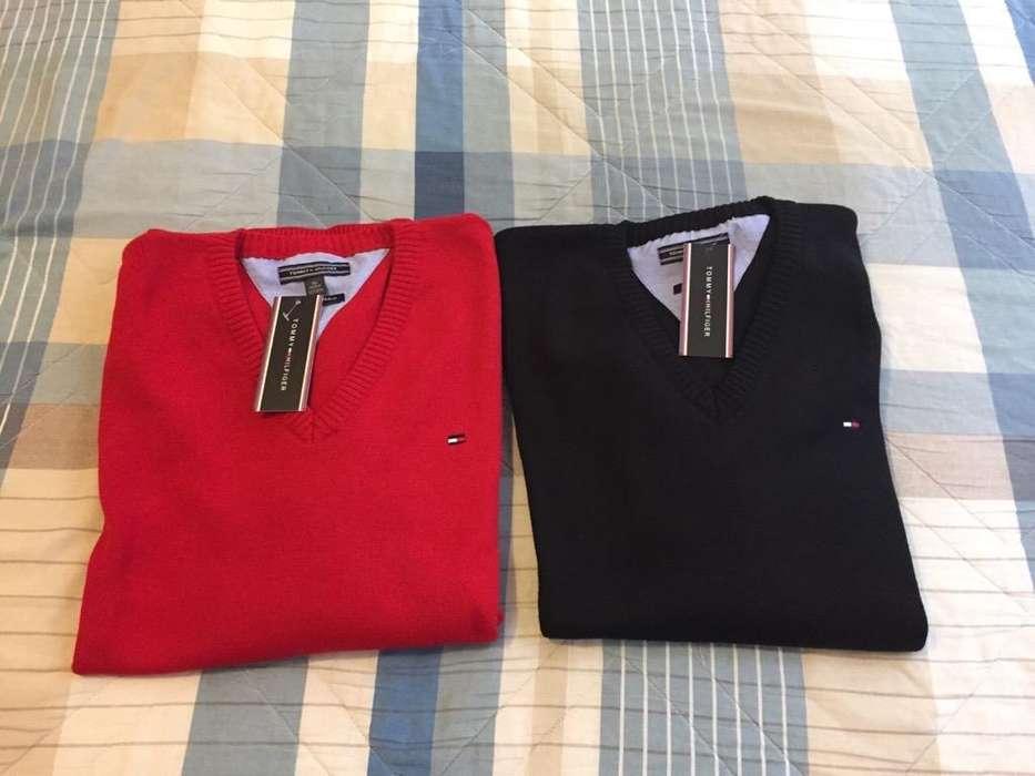 Chompas Tommy Hilfiger Negro Rojo Talla L