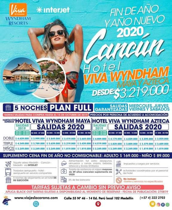 Viaje como un Rey a Cancún fin de año y año nuevo 2020 H. VIVA WYNDHAM MAYA Y AZTECA con Viajes la Corona