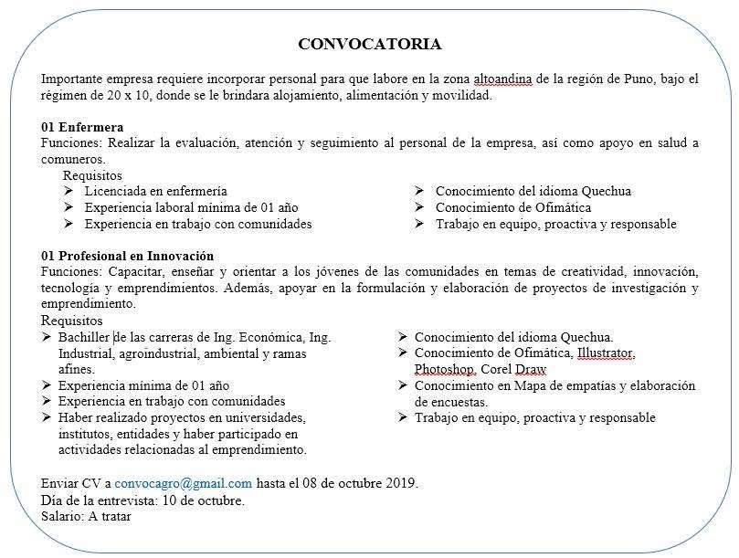 Convocatoria Enfermera/ Profesional en innovación