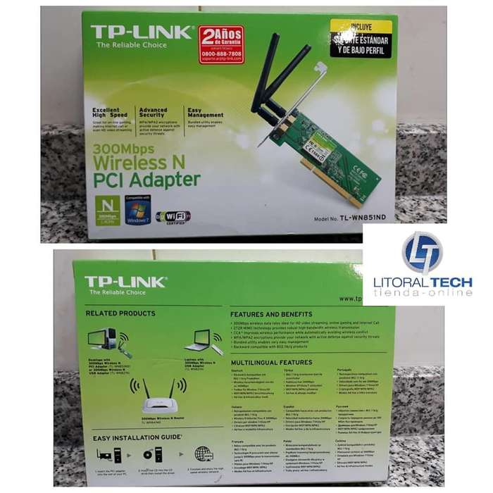Placa de red WIFI PCI, 300 mbps. Tp-Link. TL-WN851ND, 2 antenas