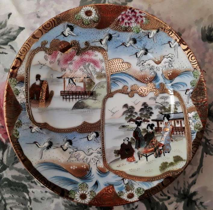 4 Platos De Porcelana Japonesa Pintado A Mano Con Sello