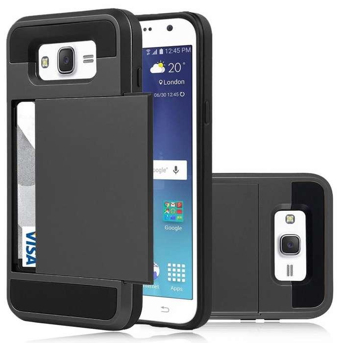 Carcasa Porta Tarjetas Dinero Samsung Galaxy J7 2015 Forro