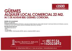 GÜEMES (M. T. DE ALVEAR 800) - ALQUILER LOCAL COMERCIAL 22 M2.