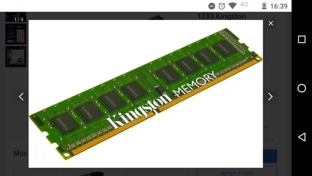 Memoria Ram <strong>pc</strong> 4gb Ddr3 1333mhz Kingston