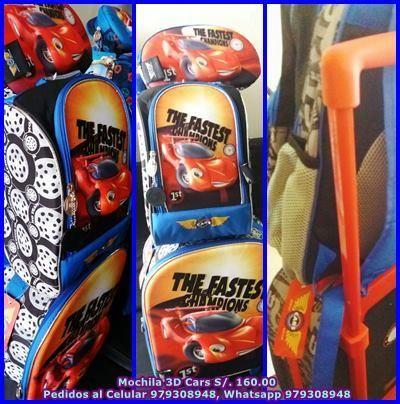 Mochila 3 D ruedas Car, Lonchera termica y cartuchera
