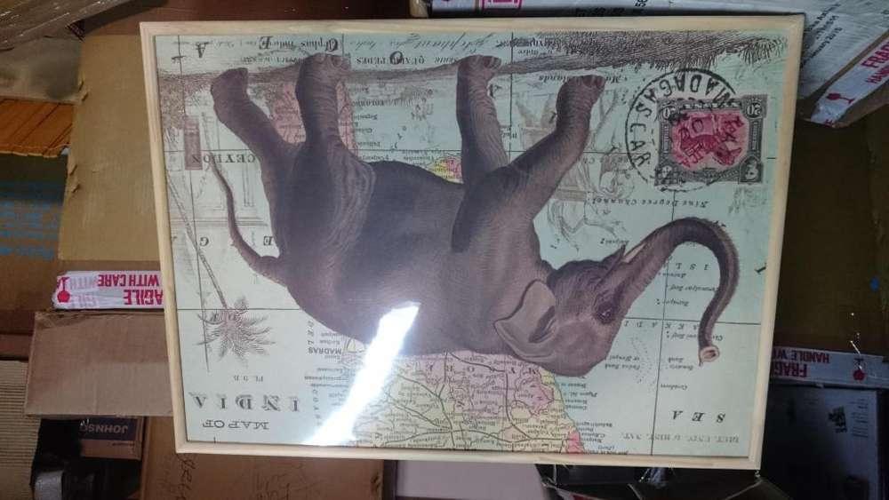cuadro de elefante importado de india