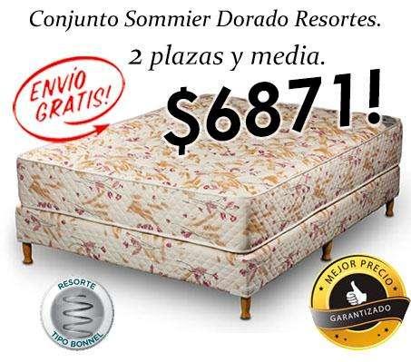 ¡ENVÍO GRATIS! SOMMIER Y COLCHON, RESORTES 2,5 PLAZAS 140 CM X 190 CM! MEJOR PRECIO GARANTIZADO! SOMIER CAMA COMPLETO!