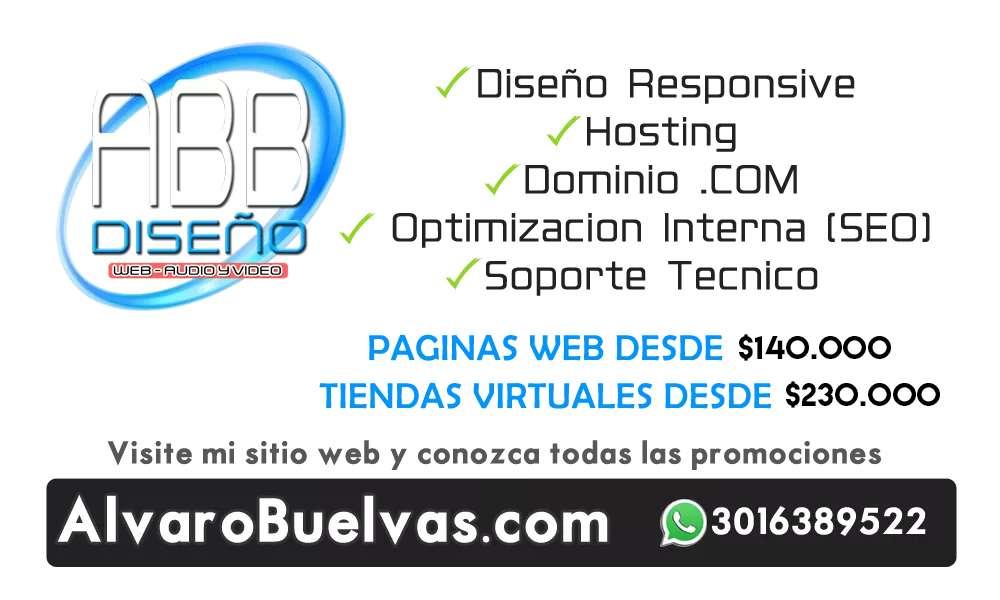 Diseño De Paginas Web Y Tiendas Virtuales Desde 140.000 Con Hosting Dominio .COM Y Correos Corporativos