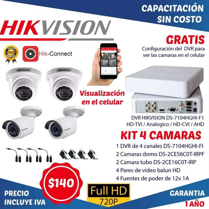 Camaras de seguridad kit video vigilancia dvr hikvision hd cctv camaras analogas e ipvideo balun cable utp disco duro