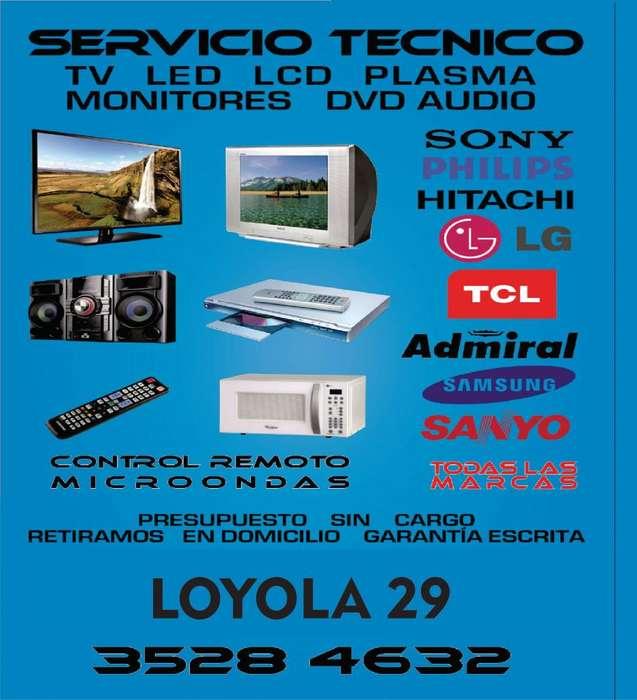 Reparacion tv lcd led monitores microondas dvd audio