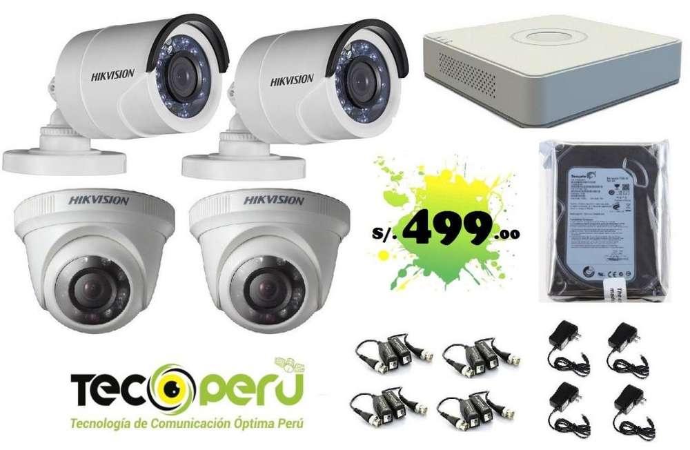 CÁMARA DE SEGURIDAD 4 HD 720p CCTV HIKVISION OFERTA 479