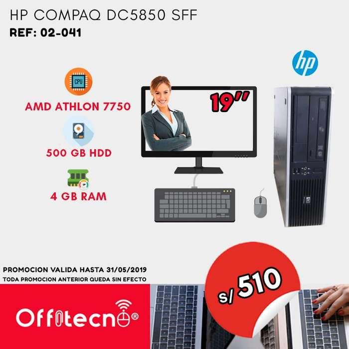 COMPUTADORA COMPLETA HP COMPAQ DC5850 SFF, AMD ATHLON 7750, 4 GB RAM, 500 GB