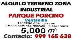 ALQUILO TERRENO EN ZONA INDUSTRIAL - Parque Porcino -   VENTANILLA
