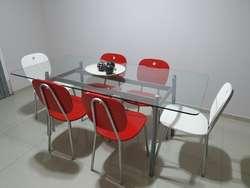 Mesa de Vidrio 1.80 X 0.90 Y 6 Sillas