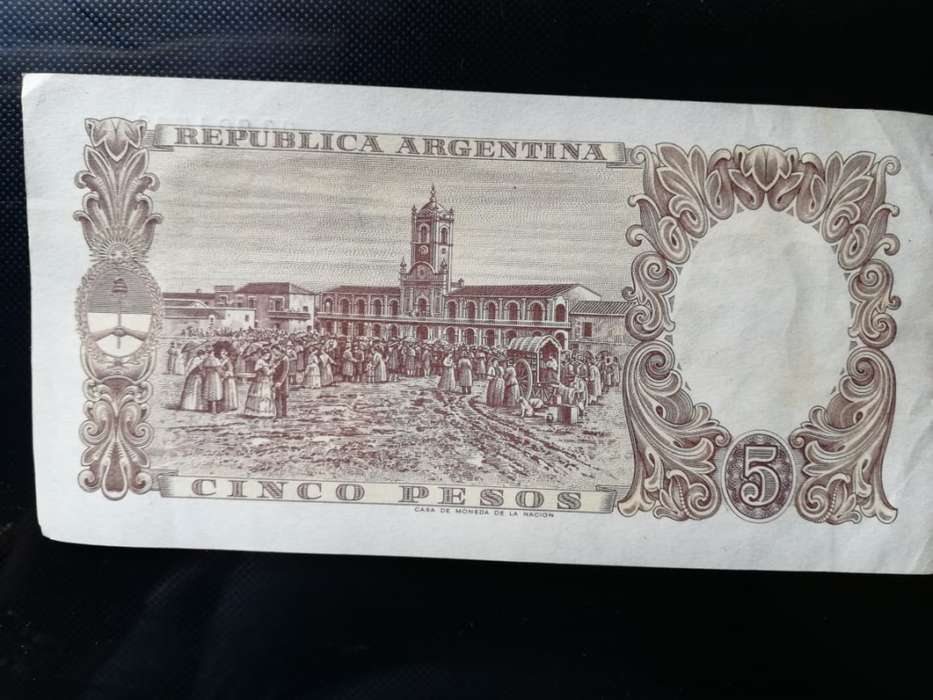 BILLETE DE 5 PESOS REP ARGENTINA 1947 serie A