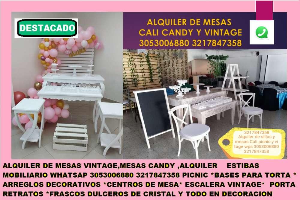 mesas vintage alquiler mobiliario para eventos y fiestas