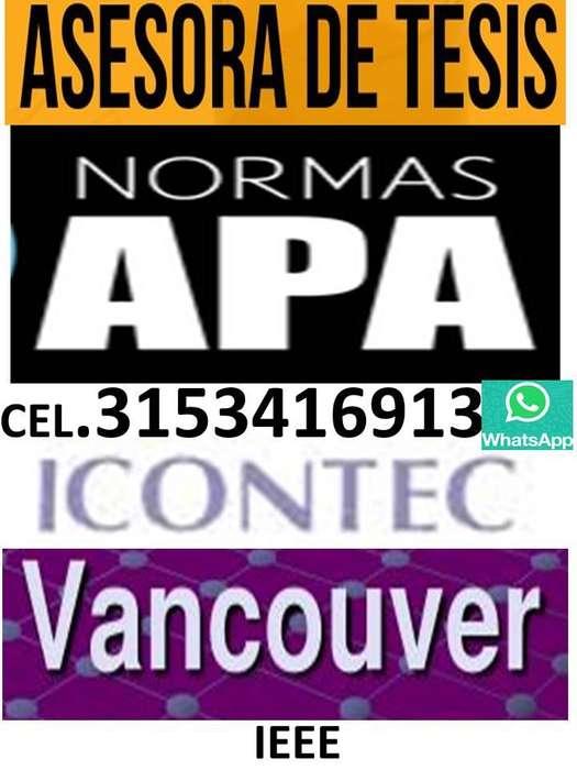 Asesorías de Tesis, Norma APA, Icontec, Vancouver, IEEE.