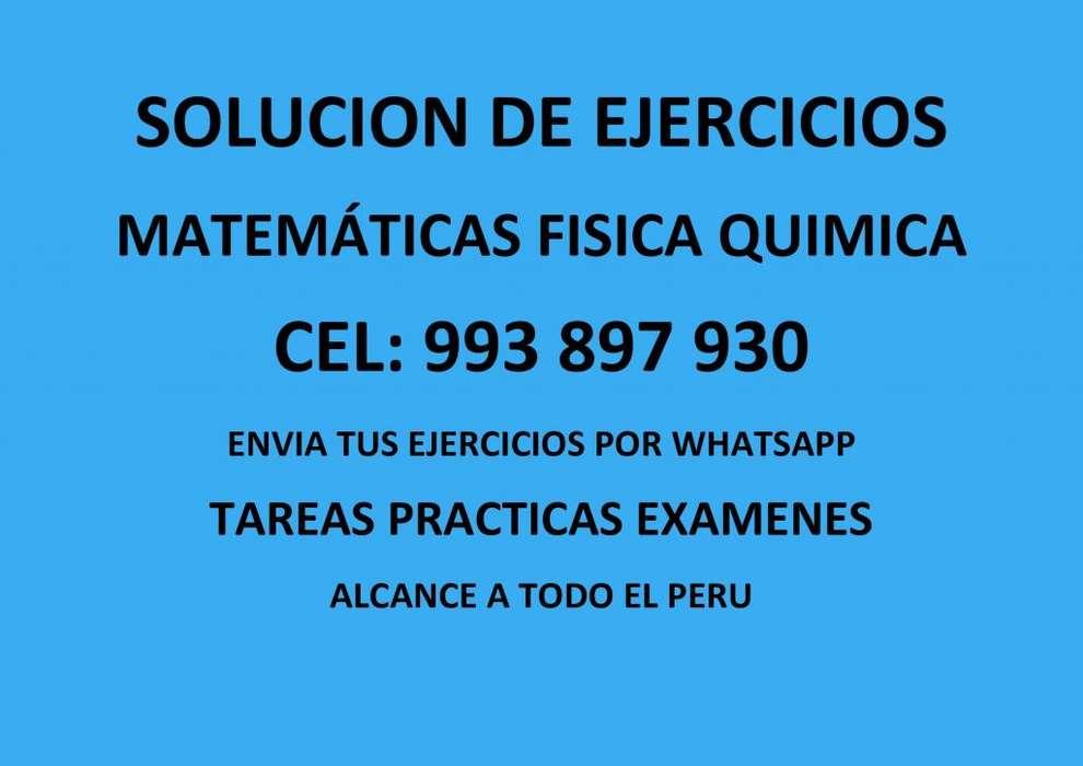 SOLUCION DE EJERCICIOS PRACTICAS TAREAS MATEMATICAS QUIMICA FISICA COMUNICACION INGLES