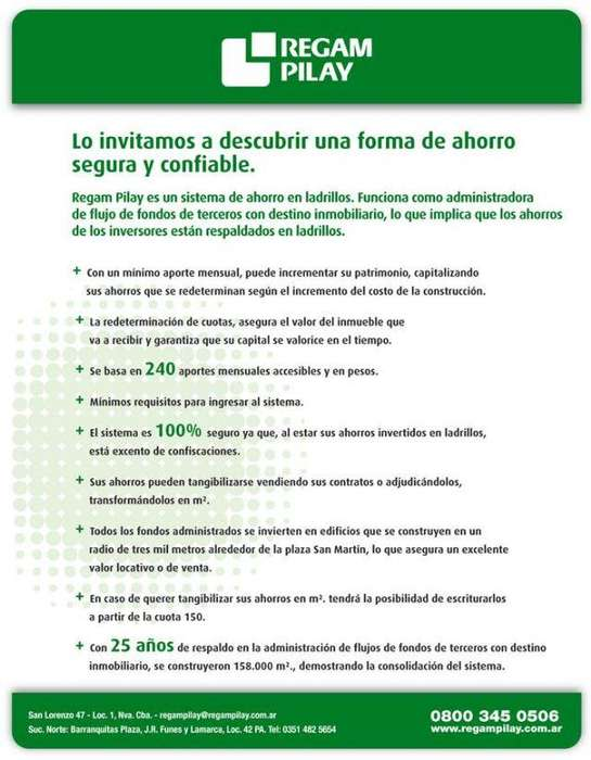VENDO URGENTE PLAN REGAM PILAY 2 DORMITORIOS - BONIFICACION %50