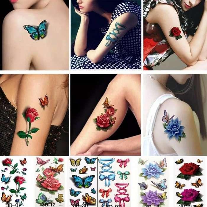 Kit 3 Hojas 6 Tatuajes Temporales 3d Rosas Mariposas