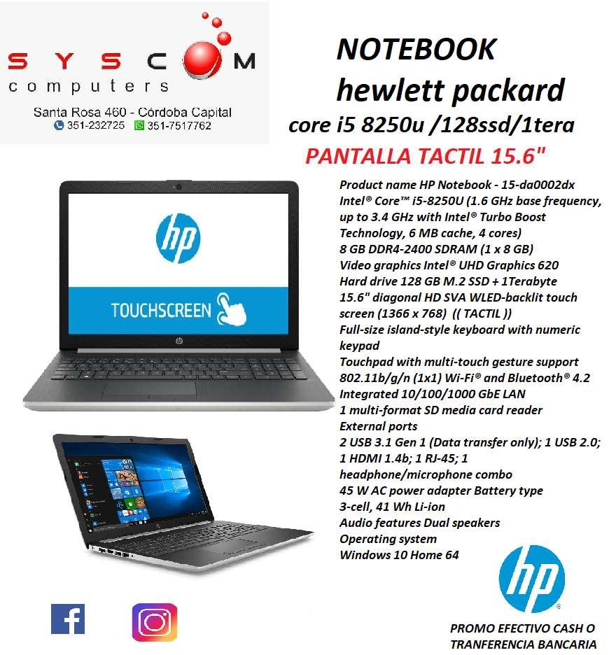 NOTEBOOK INTEL CORE I5 8250U , SSD128GB , 1 TERA , PANTALLA TACTIL