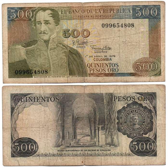 COLOMBIA. BILLETE. 500 PESOS. 1979 ABR 01. ESTADO 6 DE 10. VALOR 7700