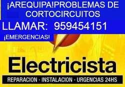 ¡EMERGENCIAS!ELECTRICISTA AREQUIPA.C:959454151.CABLEADOS,DUCHAS ELÉCTRICAS,CANALETAS,TV CABLE,ATENCIÓN TODO LOS DÍAS