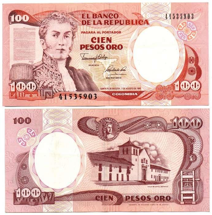 COLOMBIA. BILLETE. 100 PESOS. 1991 AGO 07. ESTADO 8 DE 10. VALOR 1700
