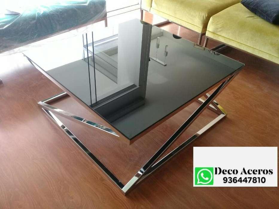 Mesa de Centro con Vidrio Negro Laminado