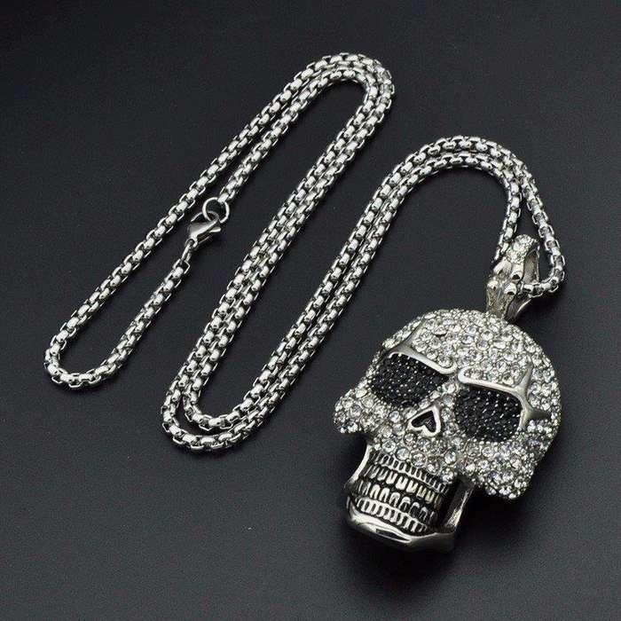 Collar Craneo oro blanco 18k Alta calidad