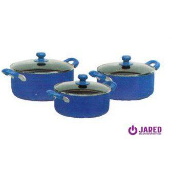 Juego de Ollas Antiadherente Finezza FZ-1609T de 9 piezas - Azul Electrodomesticos jared