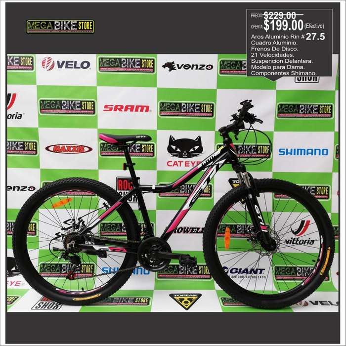 Bicicleta Aluminio , Guayaquil, aro 27.5 para Dama 21 velocidades, componentes SHIMANO y frenos de disco.